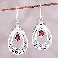Garnet dangle earrings, 'Fascinating Scarlet' - Sterling Silver and Garnet Pear-Shaped Dangle Earrings