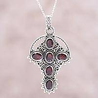 Garnet pendant necklace, 'Crimson Faith' - Sterling Silver and Red Garnet Cross Pendant Necklace