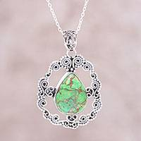 Sterling silver pendant necklace, 'Blissful Green' - Sterling Silver Green Composite Turquoise Pendant Necklace