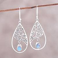 Opal dangle earrings, 'Dancing Drop' - Sterling Silver Openwork and Opal Teardrop Dangle Earrings