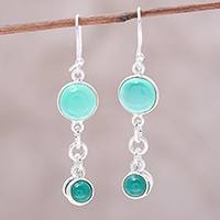 Quartz dangle earrings, 'Ethereal Green' - Quartz and Sterling Silver Dangle Earrings from India