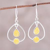 Jade dangle earrings, 'Gleaming Glory' - Sterling Silver and Yellow Jade Dangle Earrings from India