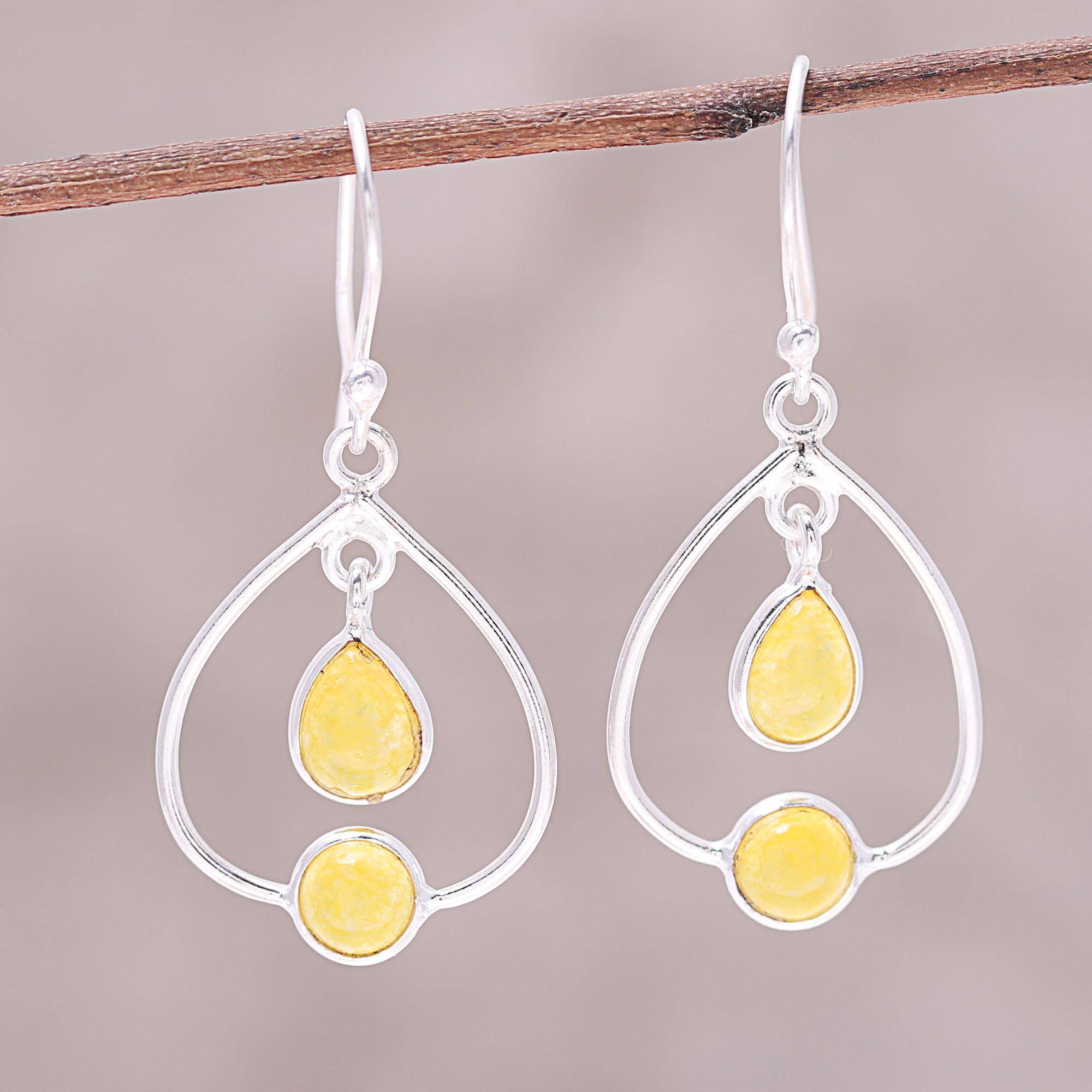Sterling Silver And Yellow Jade Dangle Earrings From India Gleaming Glory