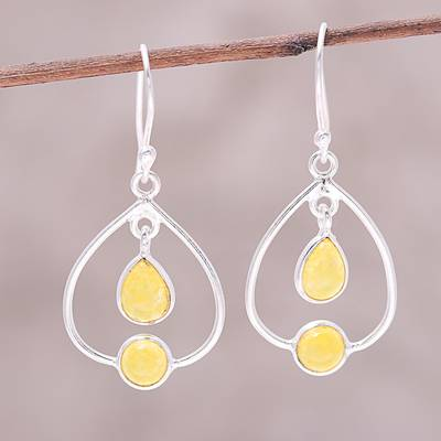 Jade Dangle Earrings Gleaming Glory Sterling Silver And Yellow