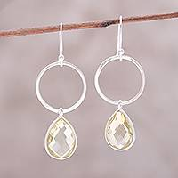 Quartz dangle earrings, 'Shimmering Sunshine' - Handcrafted Sterling Silver and Lemon Quartz Dangle Earrings