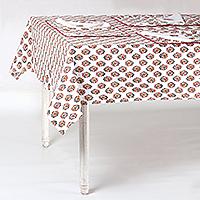 Cotton table linen set, 'Floral Bliss' (set for 6)