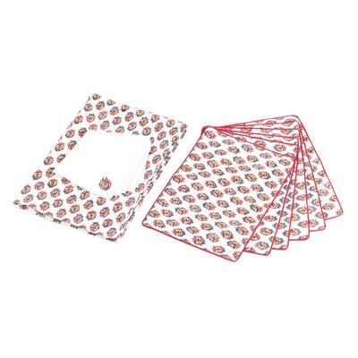 Cotton table linen set, 'Floral Bliss' (set for 6) - Rayon Embroidered Floral Cotton Table Linen Set from India