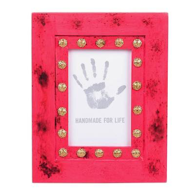 Wood photo frame, 'Gleaming Bloom' (4x6) - Wood and Brass Photo Frame (4x6) from India