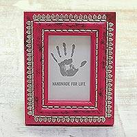 Wood photo frame, 'Spring Memories' (4x6) - Leaf Motif Aluminum and Wood Photo Frame (4x6) from India