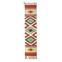 Wool runner, 'Festive Excitement' - Hand Woven Wool Runner from India
