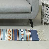 Wool runner, 'Glorious Hearth' - Hand Woven Wool Runner from India