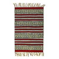 Cotton area rug, 'Song of the Woods' (2x3) - Ivory and Red Handwoven Striped Cotton 2x3 Rug with Fringe
