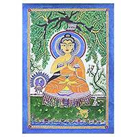 Madhubani painting, 'Enlightened' - Madhubani Painting of Buddha from India