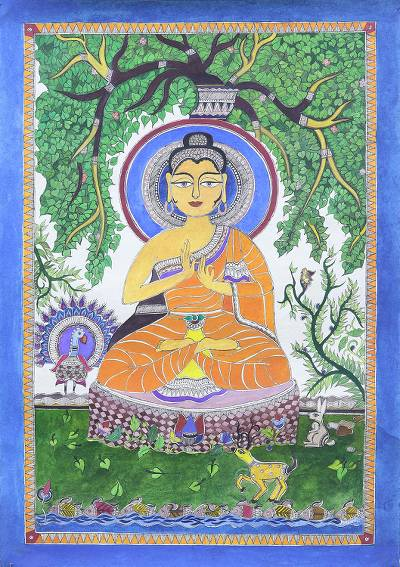 Madhubani Painting of Buddha from India