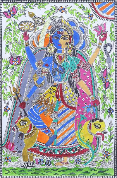 Madhubani Painting of Lord Shiva and Parvati from India