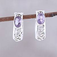 Amethyst hoop earrings, 'Eventide Glow' - Oval Amethyst and Sterling Silver Openwork Hoop Earrings
