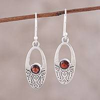 Garnet dangle earrings, 'Scarlet Garden' - Garnet Sterling Silver Heart Openwork Oval Dangle Earrings