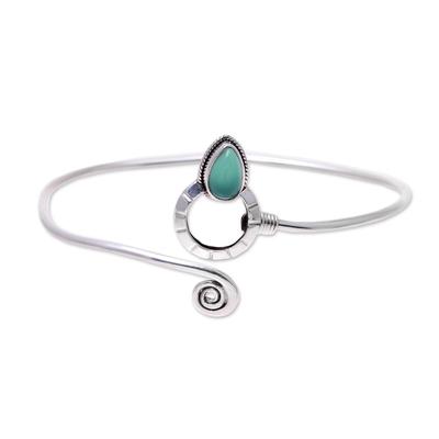 Onyx cuff bracelet, 'Modern Delhi Vibe' - Sterling Silver and Green Onyx Minimalist Cuff Bracelet