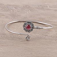 Garnet cuff bracelet, 'Radiant Scarlet' - Modern Indian Floral Garnet Sterling Silver Cuff Bracelet