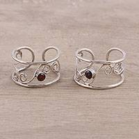 Garnet toe rings, 'Dainty' (pair) - Garnet and Sterling Silver Swirl Motif Wrap Toe Rings