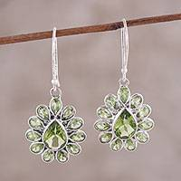 Peridot dangle earrings, 'Dramatic Dazzle' - Pear-Shaped Faceted Peridot Sterling Silver Dangle Earrings