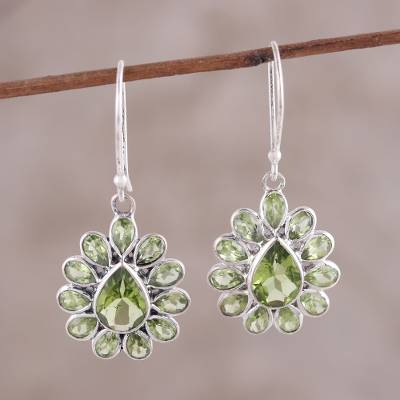Peridot Dangle Earrings Dramatic Dazzle Pear Shaped Faceted Sterling Silver