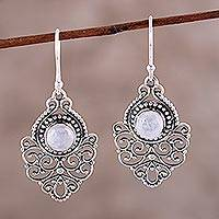 Rainbow moonstone dangle earrings, 'Everlasting Joy' - Sterling Silver Rainbow Moonstone Openwork Dangle Earrings