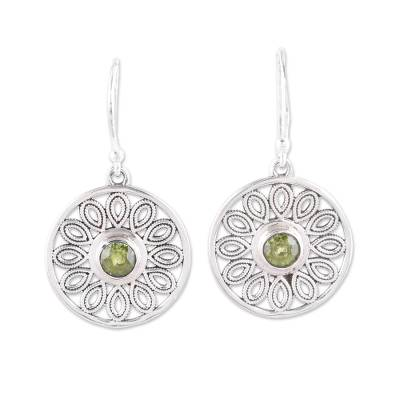Peridot and Sterling Silver Flower Circle Dangle Earrings