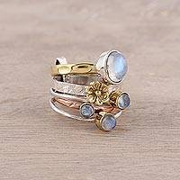 Rainbow moonstone cocktail ring, 'Rain Flowers' - Mixed Metals Floral Rainbow Moonstone Ring from India