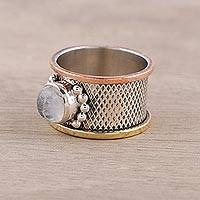 Rainbow moonstone cocktail ring, 'Industrial Allure' - Mixed Metals Silver and Rainbow Moonstone Cocktail Ring