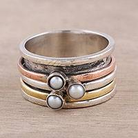 Cultured pearl meditation spinner ring, 'Nestled Trio' - Cultured Pearl and Metal Trio Meditation Spinner Ring