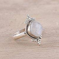 Rainbow moonstone cocktail ring, 'Cloud Queen' - Square Rainbow Moonstone and Sterling Silver Cocktail Ring