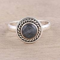 Labradorite cocktail ring, 'Stormy Moon' - Round Labradorite Sterling Silver Rope Motif Cocktail Ring