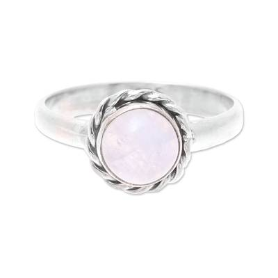 Rainbow moonstone cocktail ring, 'Moon Vision' - Rainbow Moonstone and Twisted Sterling Silver Cocktail Ring