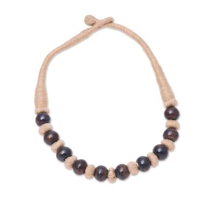 Handcrafted Brown Buffalo Bone on Tan Cotton Beaded Necklace