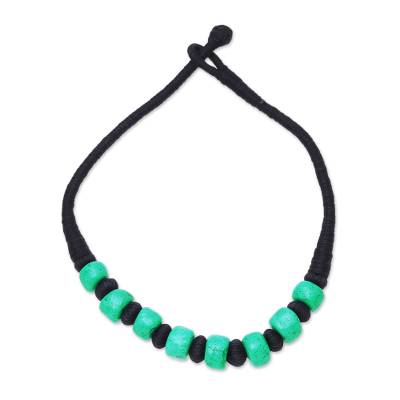 Bone beaded necklace, 'Licorice and Mint' - Handcrafted Green Buffalo Bone Black Cotton Beaded Necklace