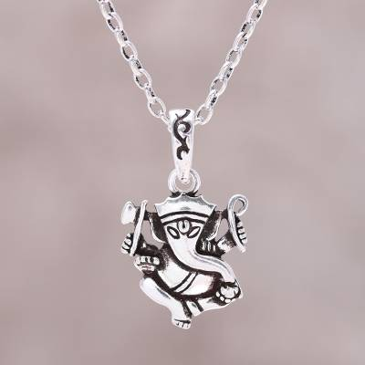 ee3273aeb Sterling silver pendant necklace, 'Proud Ganesha' - Sterling Silver Ganesha  Pendant Necklace from