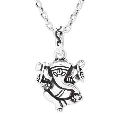 Sterling silver pendant necklace, 'Proud Ganesha' - Sterling Silver Ganesha Pendant Necklace from India
