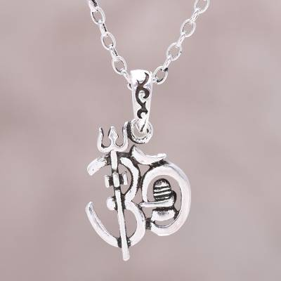 9065212882 Sterling silver pendant necklace, 'Om Trident' - Sterling Silver Om Pendant  Necklace from