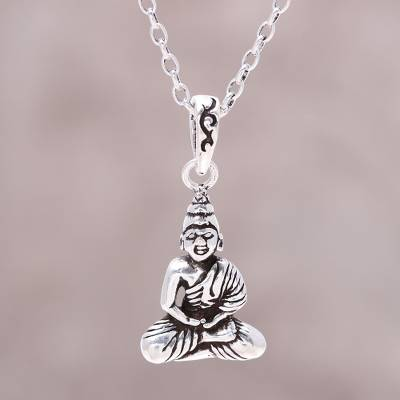 Sterling silver buddha pendant necklace from india calm buddha sterling silver pendant necklace calm buddha sterling silver buddha pendant necklace from aloadofball Images