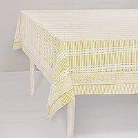 Cotton tablecloth, 'Pattern Play' - White and Honey Yellow Lines Block Print Cotton Tablecloth