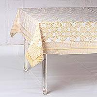 Cotton tablecloth, 'Garden Bliss in Amber' - Printed Cotton Tablecloth in Amber from India