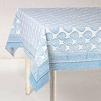 Cotton tablecloth, 'Garden Bliss in Cyan' - Printed Cotton Tablecloth in Cyan from India