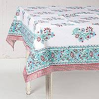 Cotton tablecloth, 'Floral Magnificence' - Handcrafted Floral Block Print Cotton Tablecloth from India