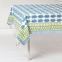 Cotton tablecloth, 'Garden Dining' - Cotton Tablecloth in Cyan and Jade from India