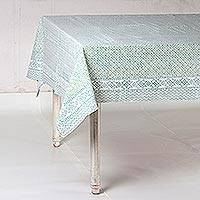 Cotton tablecloth, 'Petal Arc in Jade' - Petal Motif Cotton Tablecloth in Jade from India