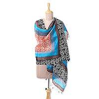 Silk shawl, 'Joyful Vine' - Handwoven Silk Shawl with Vine Motifs from India