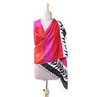 Silk shawl, 'Dazzling Harmony' - Handwoven Striped Silk Shawl with Leaf Motifs from India