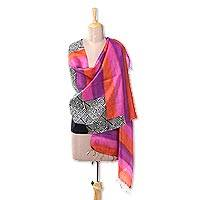 Silk shawl, 'Dazzling Paisleys' - Handwoven Striped Silk Shawl with Paisley Motifs from India