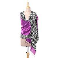 Silk shawl, 'Amethyst Jungle' - Handwoven Silk Shawl in Amethyst from India